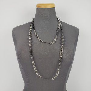 Grey Pearl & Chain Long Silver Necklace